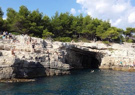 An image of one of the caves at Galebove Stijene that can be seen on the Snorkeling Boat Trip to Secret Beaches in Galebove Stijene with Rio Boat Pula.