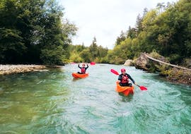 People enjoying a 9km Kayaking on the Dolinka River from Bled with Outdoor Slovenia Bled.