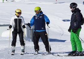 People are participating at adult ski lessons for all levels with ski school Neustift Olympia at Stubai glacier.