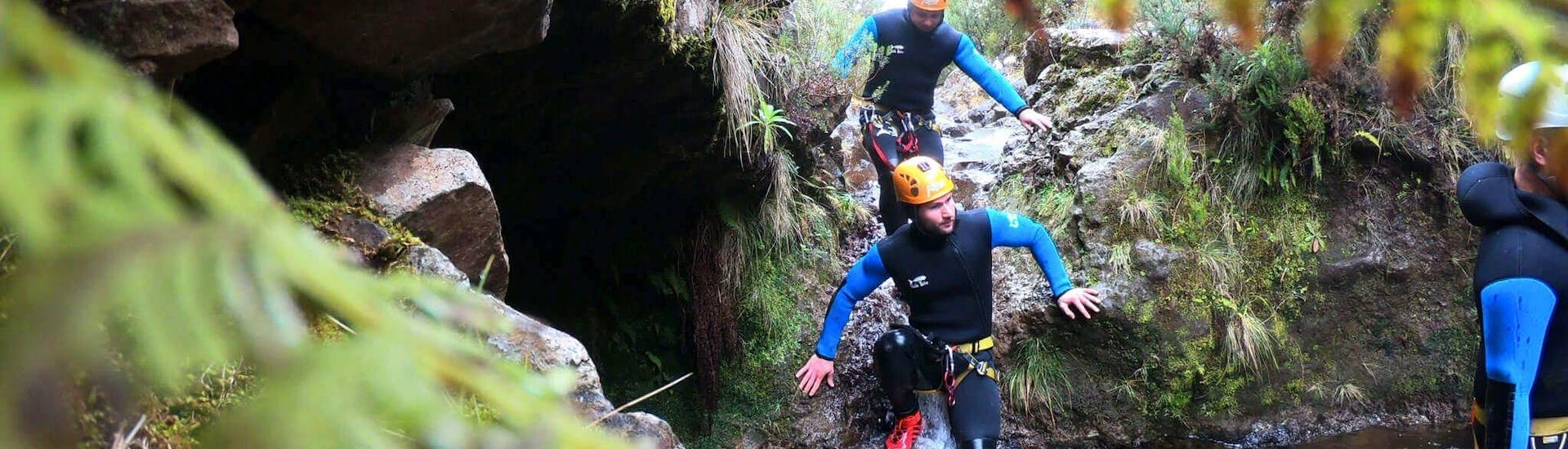 People canyoning in Ribeira do Lajeado with Madeira Adventure Kingdom.