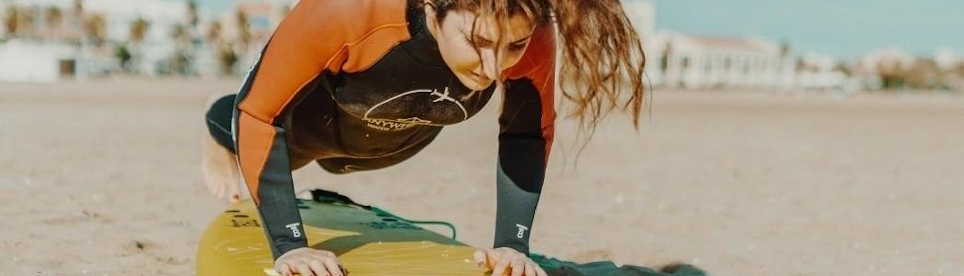 Private surfing lessons in Valencia with Anywhere Watersports.