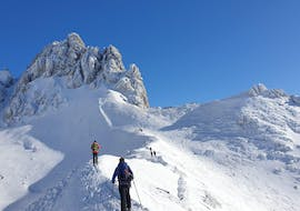 The participants of the Avalanche Workshop with Bergführer Salzburg are putting the theory about avalanche safety into practice during a ski  tour.