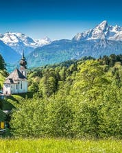 The beautiful landscape of the National Park in Berchtesgaden in Bavaria where you can hop on an hot air balloon an see the view during ballooning flight.