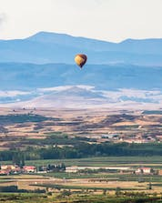 A photo of a beautiful view in Spain from a hot air balloon in Barcelona.