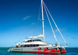 A catamaran of Passions of Paradise is cruising to the Great Barrier Reef during the Boat Tour with Snorkeling & Scuba Diving for Families.