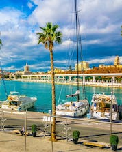 An image of the beautiful marina that is a common departure point for boat trips in Málaga.
