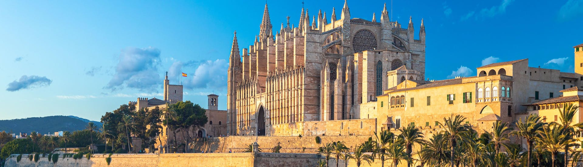 An image of the famous cathedral, as visible when departing for a boat tour in Palma de Mallorca.