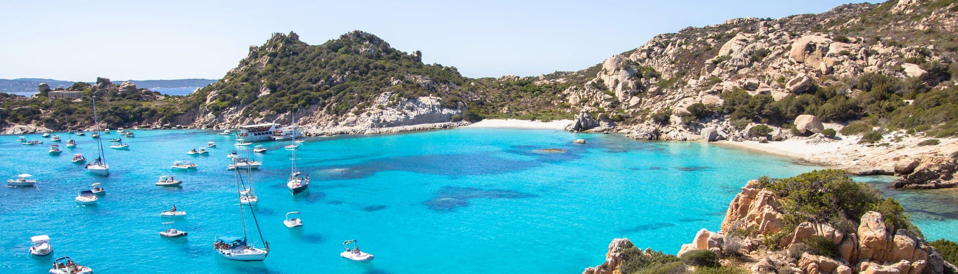 An image of Cala Corsara on the archipelago of La Maddalena, one of the many places you can visit on a boat tour in Sardinia.