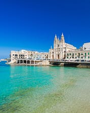 A view of the harbour of St. Julian's, a popular departure point for boat tours in Malta.