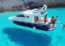 One of the boat of Gita in Barca Liliana Lampedusa during the Boat trip around Lampedusa with Lunch.