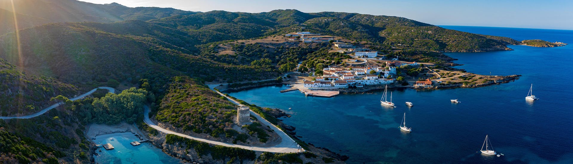 Aerial view of the Asinara National Park, a popular destination for boat trips in Sardinia.