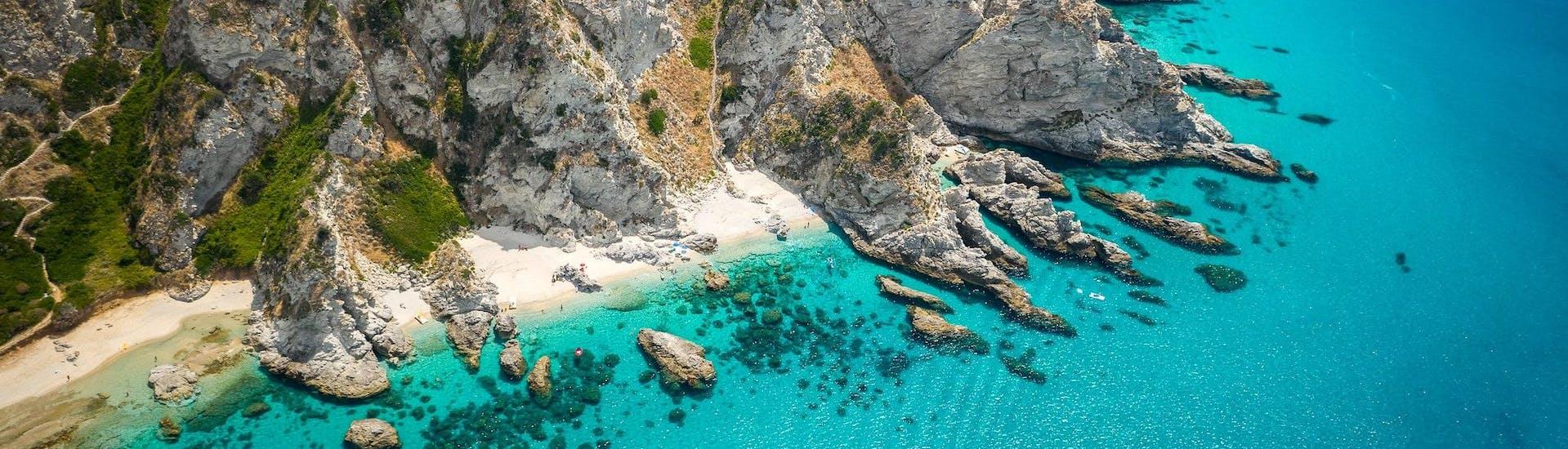 Aerial view over the rocky Capo Vaticano, which is a popular destination for boat trips along the Costa degli Dei in Calabria.