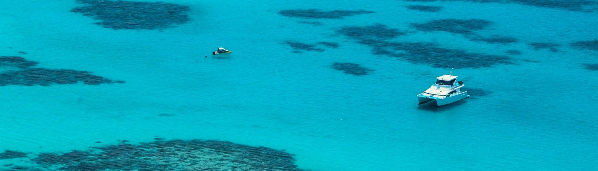 A bird's-eye view of the turquoise waters visitors are treated to on a boat trip on the Great Barrier Reef.