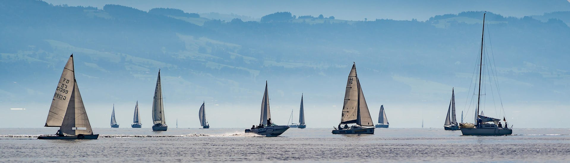 Sailboats are sailing over Lake Constance, the perfect location for doing boat trips.