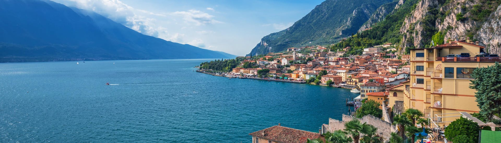 An image of the beautiful Lake Garda in Northern Italy, the perfect spot to book a boat trip in summer.