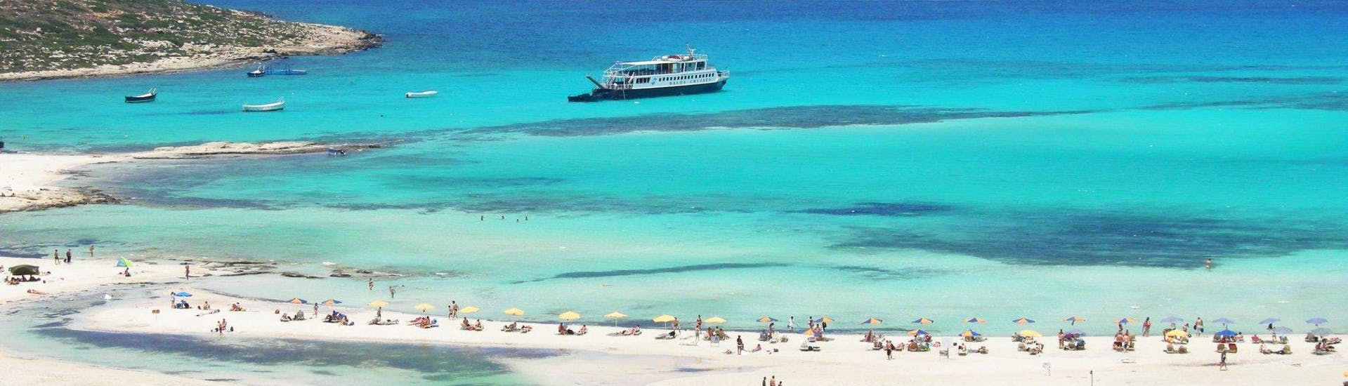 The beautiful Balos Lagoon during a boat trip to Balos & Gramvousa from Kissamos with Cretan Daily Cruises.