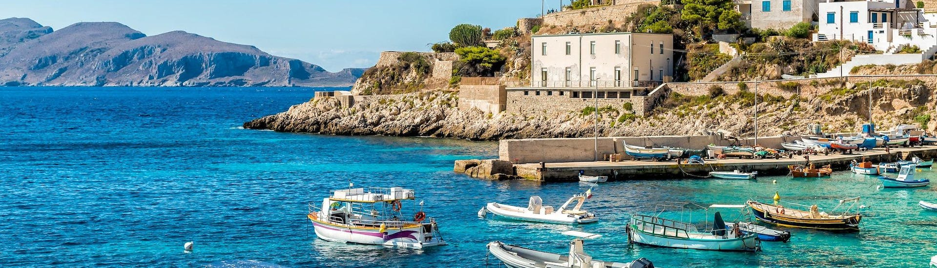View of Levanzo Island, which is a popular destination for boat trips from Trapani in Sicily.
