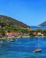An arial photo of a beautiful city and coast in Croatia where you can do boat tours near the Elephiti Islands.