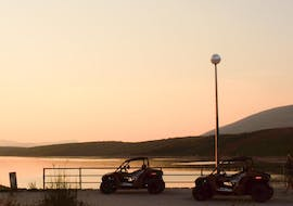 A view on buggies at sunset during the Fun Buggy Tour incl. Transfer from Split organised by Hotel Alkar.