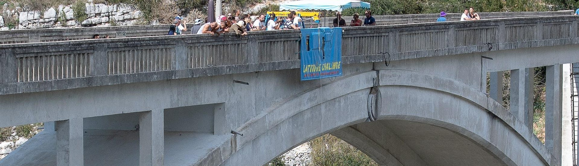 View of the Artuby Bridge, 182m high, where people do bungee jumping with Latitude Challenge.