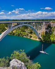 A photo of a large and big bridge in Croatia where you can do bungee jumping in Sibenik.