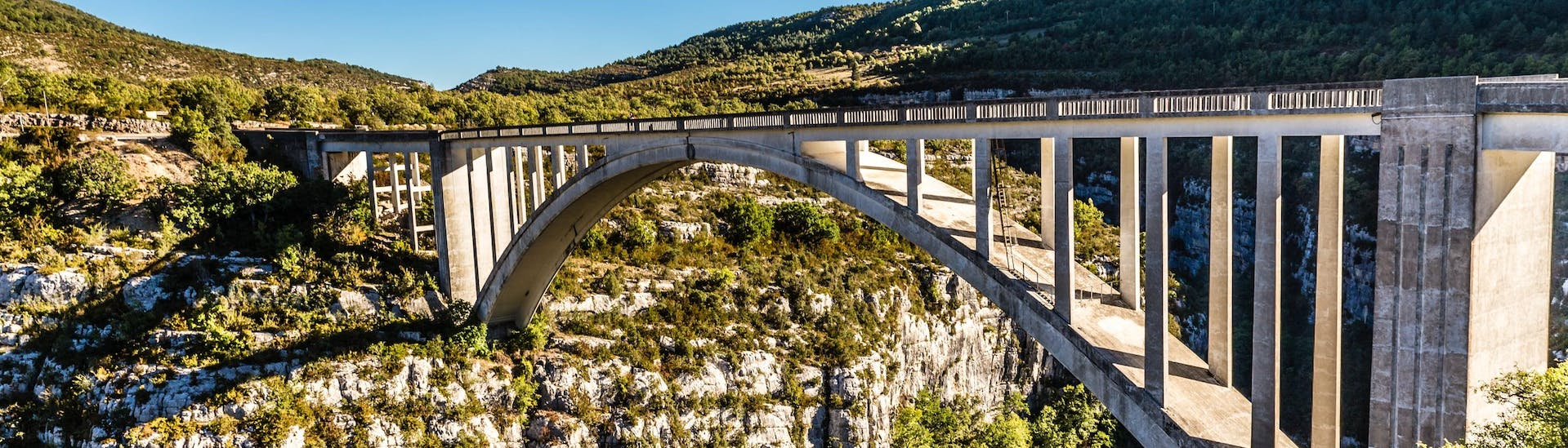 View from the Artuby bridge in the Gorges du Verdon, one of the most popular places in France for bungee jumping.