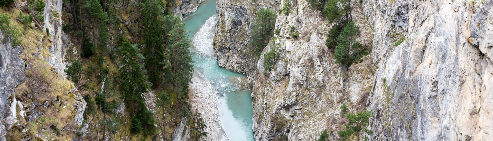 View of a gorge near Lathuile in the Annecy area where it is possible to do canyoning.