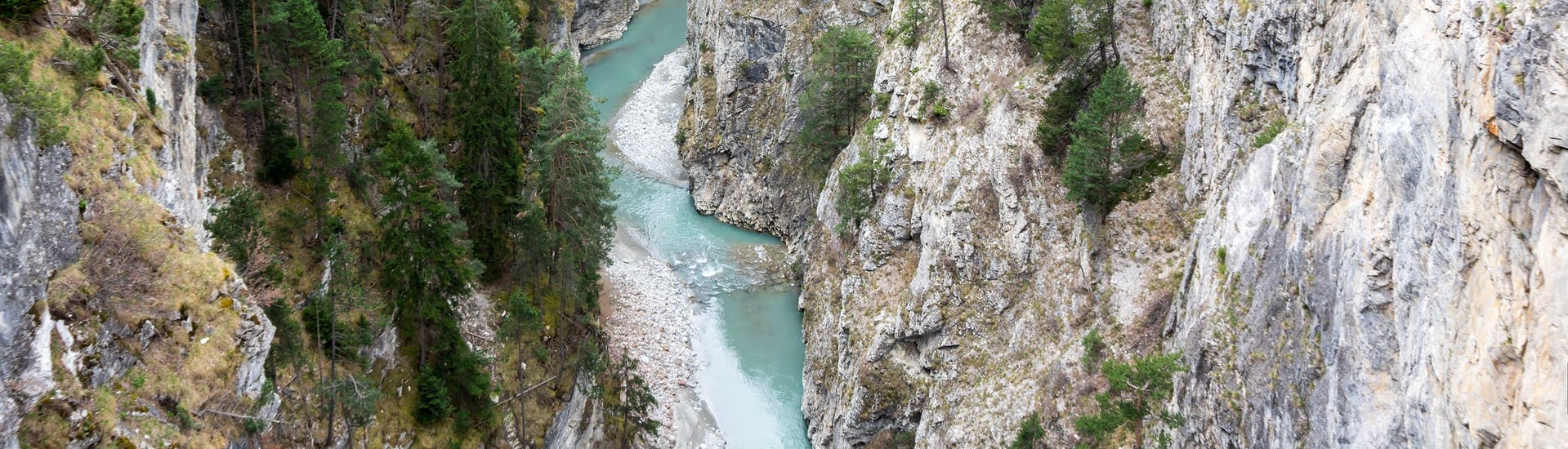 View of a gorge near Angon in the Annecy area where it is possible to do canyoning.