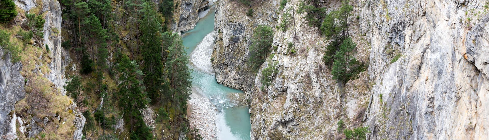 View of a gorge in the Annecy area where it is possible to do canyoning.