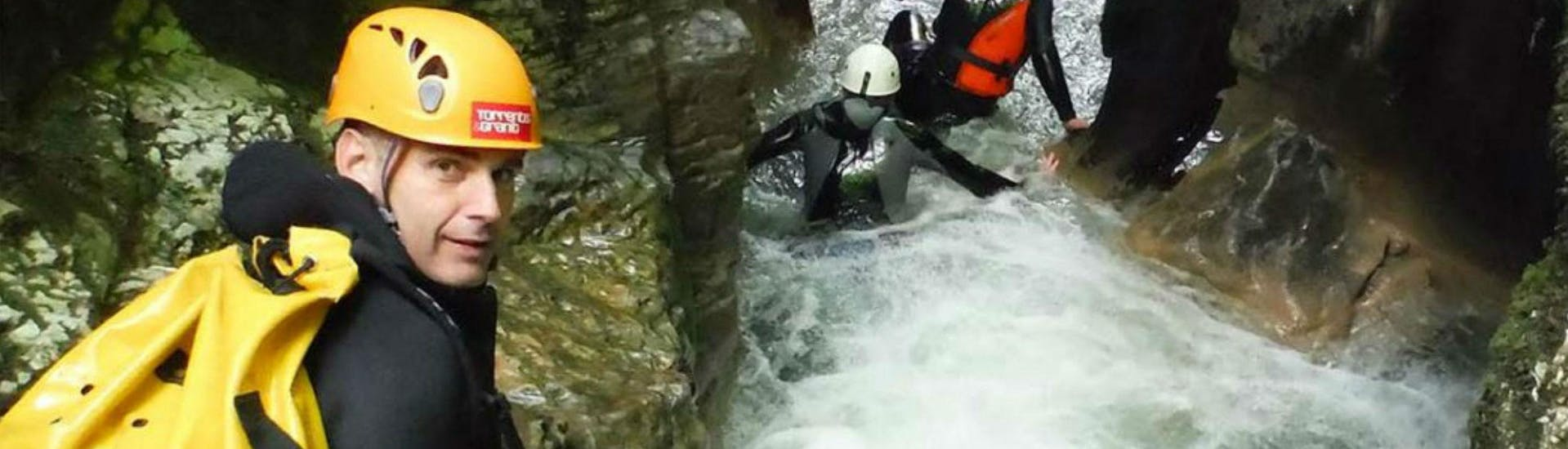 """Canyoning enthusiasts are progressing in the canyon during their Canyoning """"Day Sports"""" - Canyon du Haut Chassezac with Torrents & Granit."""