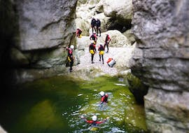 The participants of Canyoning for Beginners in the Afternoon from Outdoor Center Baumgarten exploring the area in Schneizlreut.