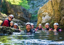 The participants of the Canyoning for beginners of Outdoor center Baumgarten enjoy their time in the water of the  Almbachklamm in Schneizlreuth.