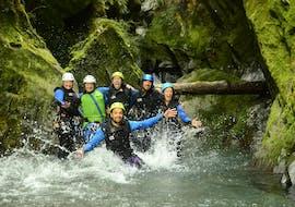 Group of adventurers having fun at Canyoning from Wanaka at Mount Aspiring - Full Day with Canyoning New Zealand.