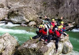 A group of participants on top of a rock during the canyoning in Rio nero and fiume Palvico with LOLGarda.
