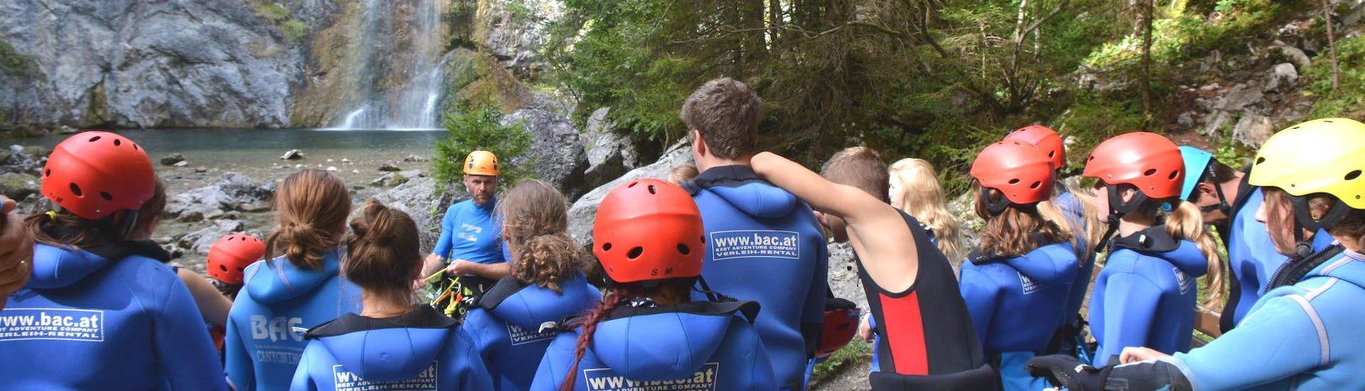 """Participants of Canyoning """"Redfather Short"""" - Enns Valley are carefully listening to their guide from best adventure company."""