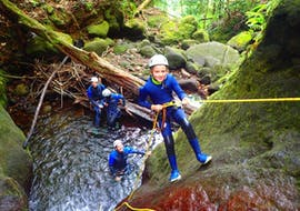 A child is going down a waterfall during his Canyoning in Galion river - Ti-Canyon activity with Vert Intense.