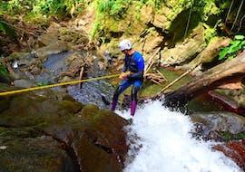 Une personne fait du rappel pendant une sortie Canyoning dans le Vauchelet - Tropical Plus avec Vert Intense.