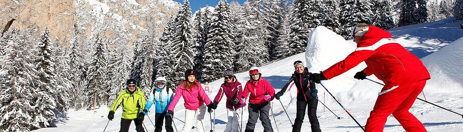 Adult Ski Lessons for Beginners with Ski and Snowboard School Selva Val Gardena - Hero image