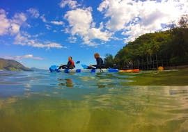 Our travellers enjoying a paddle on the Island Hopping Kayaking Tour in Cairns with Pacific Watersports
