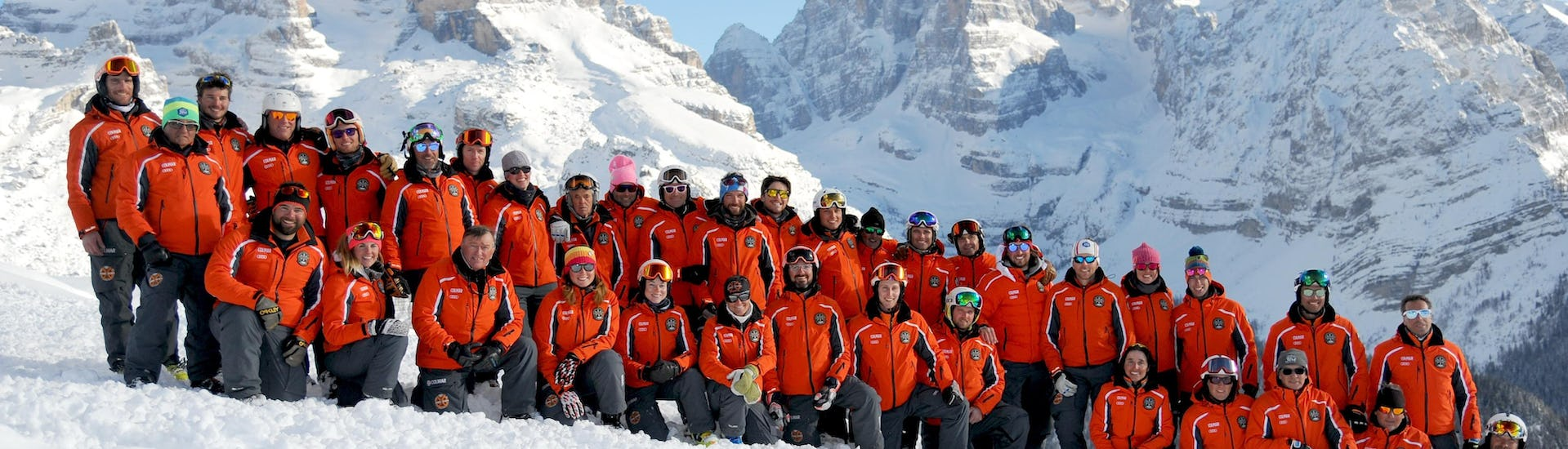 A group of skiers on the slopes of Madonna di Campiglio