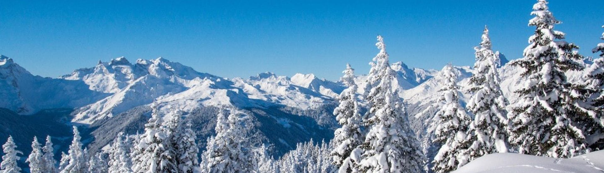 A view of a wintery landscape covered in deep poweder snow, in the ski resort of Morzine, where beginners can learn to ski with the help of the broad selection of ski lessons offered by the local ski schools.