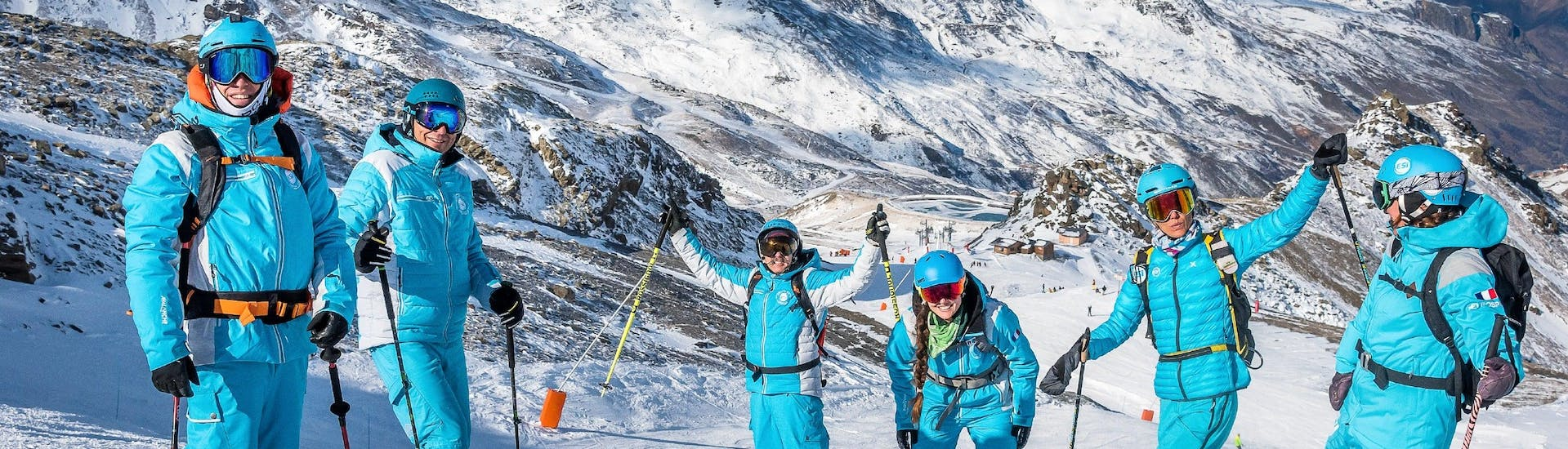 Ski instructors from the ski school ESI Ski Family in Val Thorens and Risoul are having a good time in the mountains, before the start of their ski lessons.