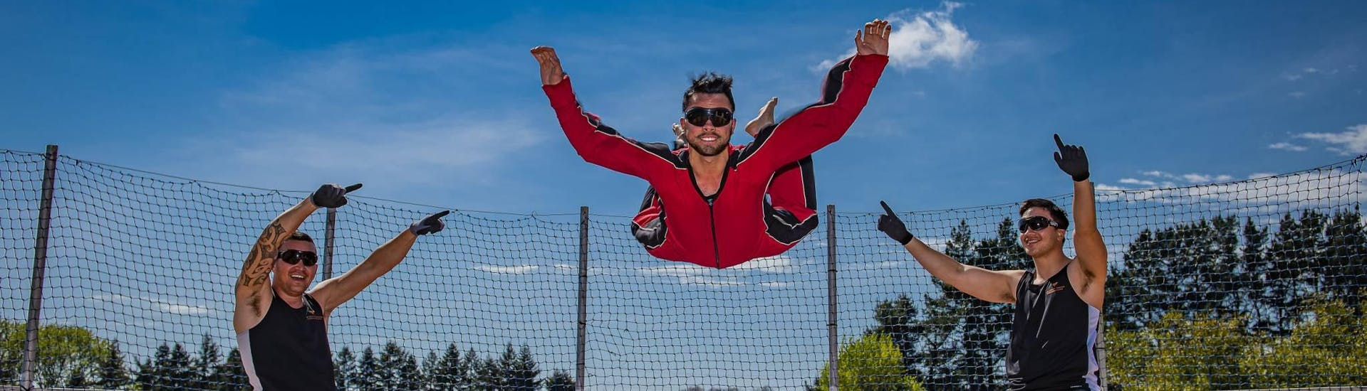 In Velocity Valley Rotorua Adventure Park, one lucky guy is experiencing the feeling of zero gravity during the Freefall Xtreme in Rotorua.