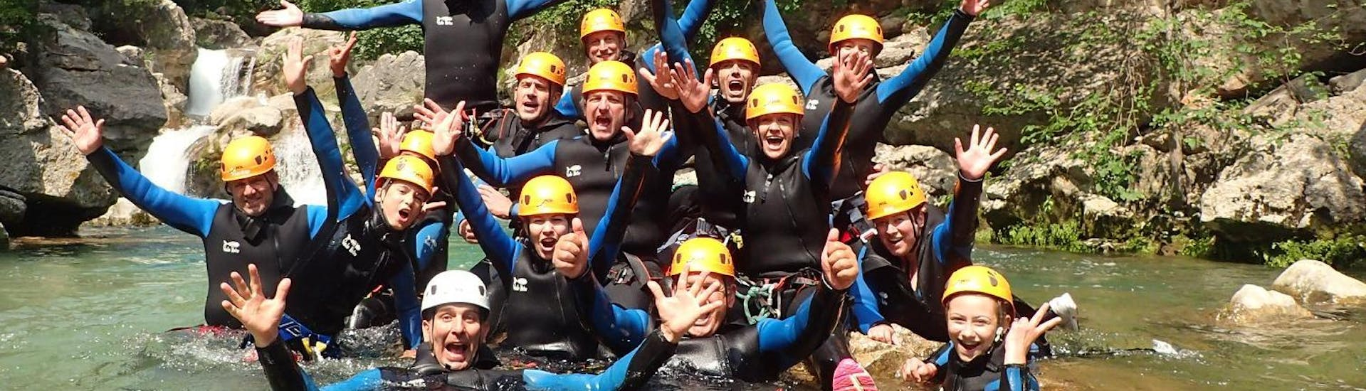 A group of friends are having a great time during their canyoning descent with FunTrip in the Alpes-Maritimes.