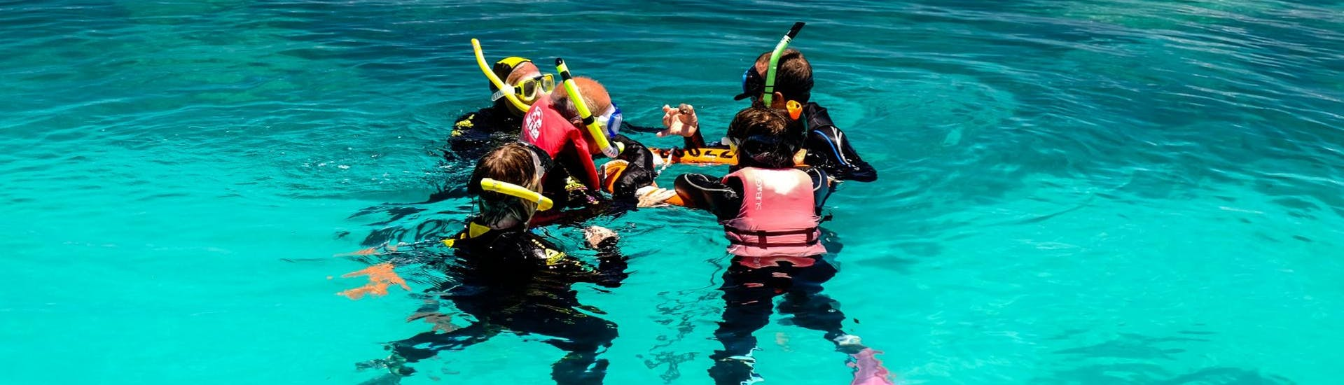 During the Great Barrier Reef Cruise to Michaelmas Cay with Snorkeling, a group of guest is about to explore the vibrant marine life under the guidance of an experienced guide from Ocean Spirit Cruises.