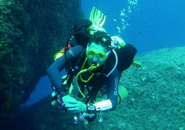 A scuba diver exploring a reef.