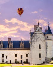 Beautiful Amboise castle which can be seen during a hot air balloon flight in Châteaux de La Loire.