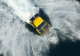 The Jet Boat 360 from Take Off Ibiza is wildly soaring the sea on their tour.