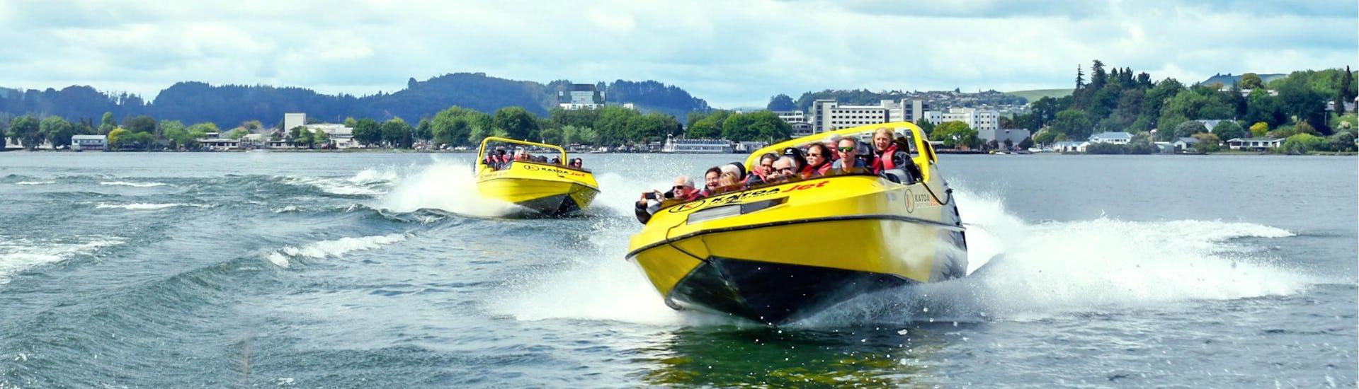 Two groups of people can be seen Jet Boating in Rotorua with Katoa Lake Rotorua.