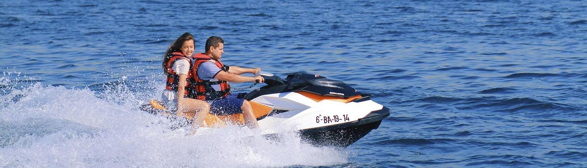 With Jet Ski Hire - Barcelona, two friends are riding fast along the Barcelona's coastline accompanied by an instructor from Five Star Barcelona.